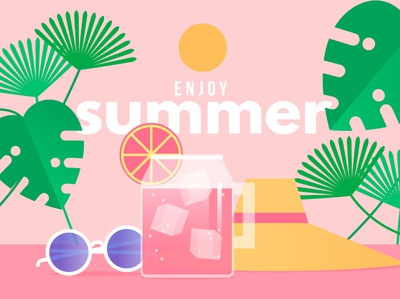 Enjoy summer summer flat vector illustration design