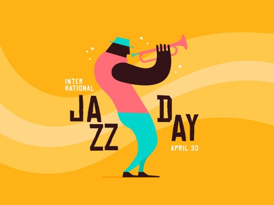 Jazz day flat vector illustration design jazz