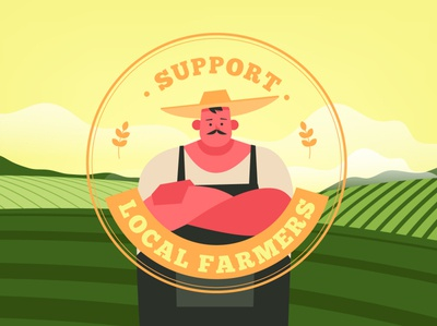 Support local farmers local flat vector illustration design