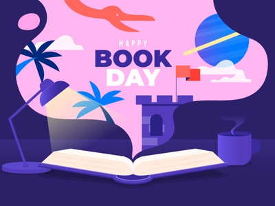 Book day flat vector illustration design book