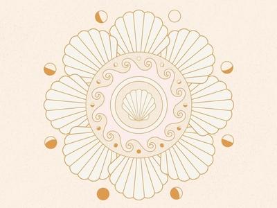 Moon Phases and Ocean Tides mandala ocean shells moon moon phases vector design icon illustration