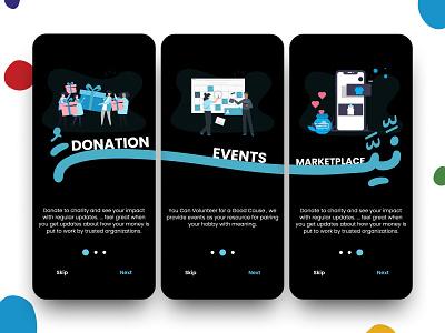Neya app   charity icon illustraion uidesign colorful dark theme dark mode dark donation product uiux ui