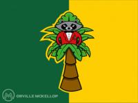 Raccoon in a Palm Tree Mascot Logo
