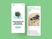 The impact on the environment after the coronavirus illustration coronavirus covid-19 typography ux web minimalist ui web design design