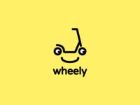 Wheely logo ridesharing scooter transportation illustration logo