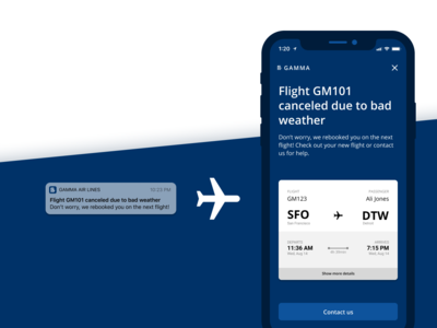 Daily UX Writing Challenge: Day 1 - Flight Cancellation notification airlines travel ux uidesign ui content design content strategy ux writing