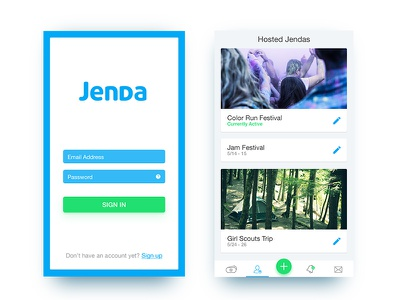 Jenda App - Login & Home ux ui mobile agenda jenda ios app