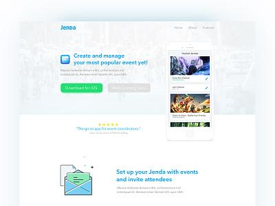 Jenda Landing Page ux ui frontend front-end web app mobile ios jenda landing