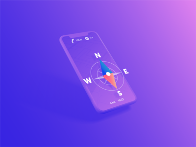 Your Personal Navigator App east west south way app guide mobile app north compass navigation navigator ux vector ui logo 3d design isometry illustration gradient