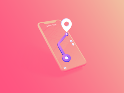 Way To Destination. Navigation mobile ui map orange navigator compass destination navigation way pin route inspiration concept mobileapp app ui 3d design isometry illustration gradient