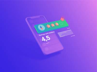 Illustration of rating stars app. reviews isometric colorfull iphone technology list orange light neon mobile app app stars evaluation number rating 3d design isometry illustration gradient