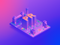 Public relations city (PR) cityscape outdoors street vector light graphic design park letter building 3d app design isometry illustration gradient relationship pr relations city public
