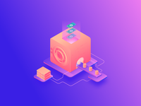 Loss of money when working with personal data network box bitcoins server database person data money orange safe vector technology mining cryptocurrency bitcoin design 3d illustration isometry gradient