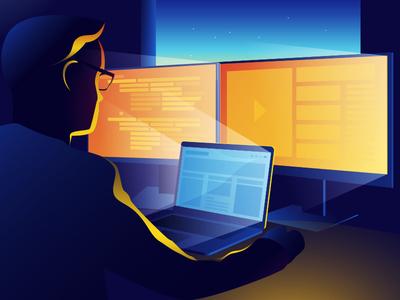 Workplace orange glass laptop programmer computer job work night man