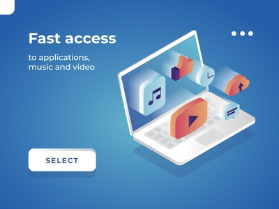 Fast access white computer laptop device app application message cloud video music access fast