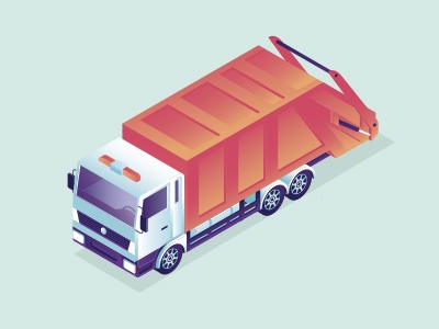 Garbage truck truck red gradient garbage dept car