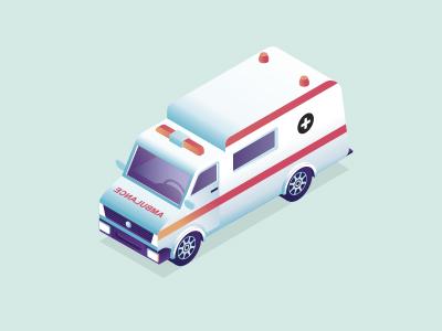 Ambulance set isometry red white car emergency ambulance
