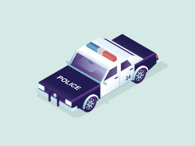 Police car dept isometry set emergency car police