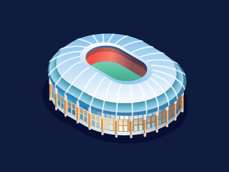 Luzhniki Stadium building russia football moscow isometric complex arena sport gradient stadium isometry