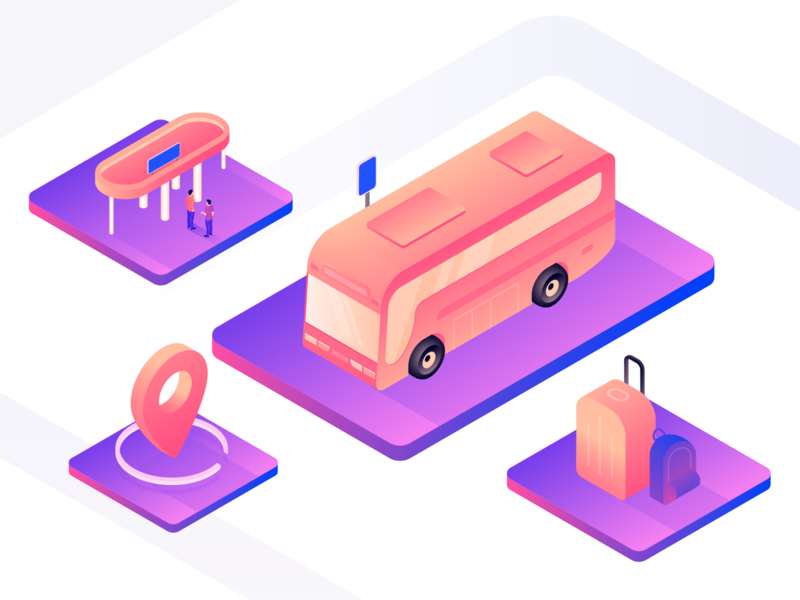 Bus station bag ticket booking bus booking voyage station map road tour travel trip car 3d bus stop bus app bus isometry illustration gradient