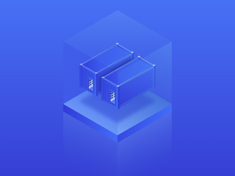 Data center (mining farm or mining container) gradients crypto 3d designer technology container farm digital miner cryptocurrency blockchain bitcoin icon ux vector branding ui isometry illustration gradient