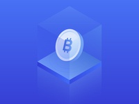Bitcoin. Isometric bit coin icon.