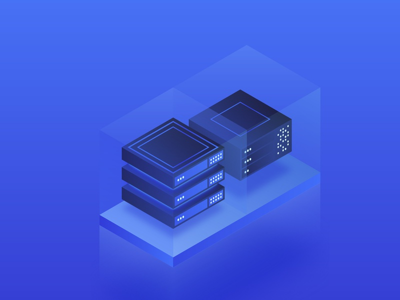 Isometric server — data center connection mining cryptocurrency crypto token network bitcoin affinity 3d database digital technology tech server design isometry illustration glow computer gradient