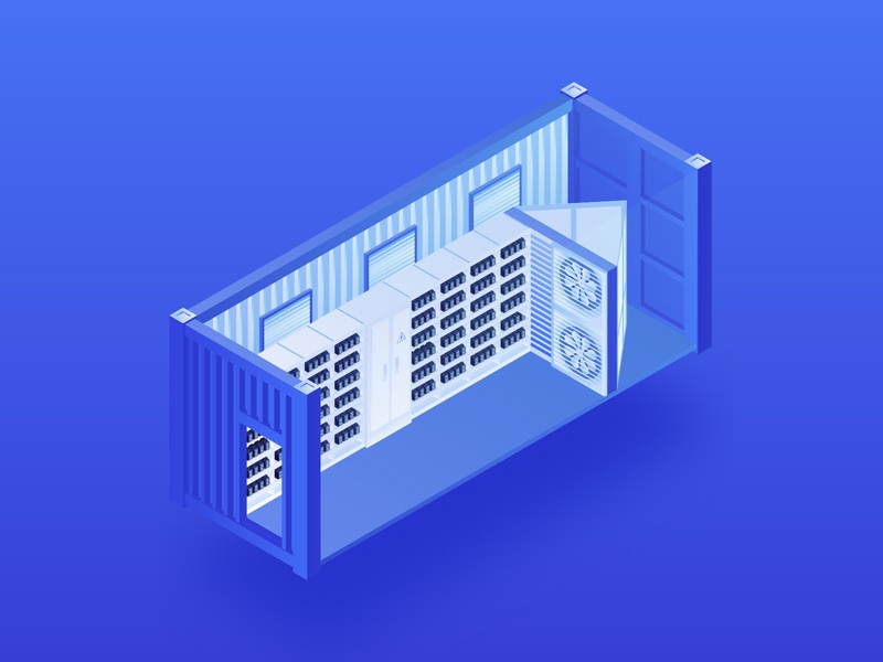 Mining Container (Minebox) blockchain token server technology tech network container metallic mining farm mining litecoin cryptocoin ui cryptocurrency bitcoin 3d design isometry illustration gradient