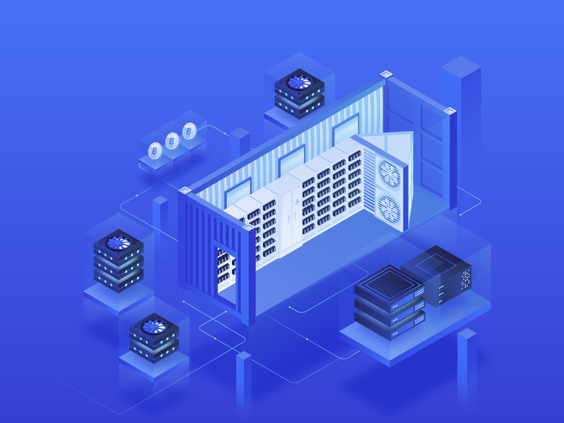 Data center. Cryptocurrency Isometric Illustration modern classy technology neon server coin center data miner container mining homepage ui cryptocurrency bitcoin 3d design isometry illustration gradient