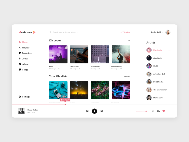 Music Player Web App (Light) by Tushar Palei on Dribbble