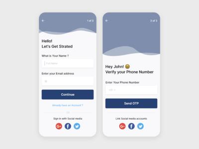 App Sign up screens