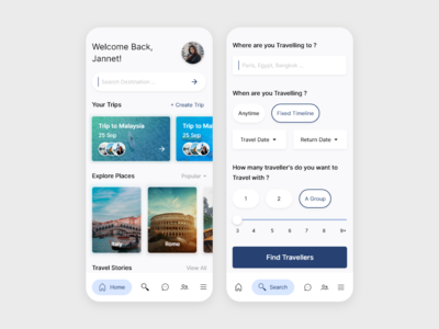 Travel App Home and search screen