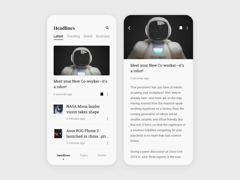 News App UI news app ui app design