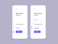 Minimal Sign In and Sign Up screens