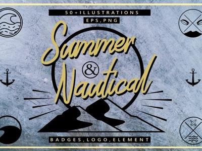 Summer Nautical Element Vector logo design design template branding kit summer party flyer summer logo summer badges summer vector nautical summer