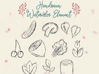 Handrawn Watercolor Kitchen Element