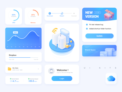 UI KITS process percent cloud ux empty default blank design isometric 2.5d illustration blue