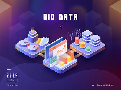 Big Data branding error page default 404 empty computer cloud data purple ui isometric 2.5d illustration