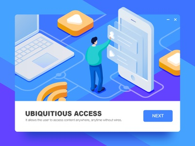 UBIQUITIOUS ACCESS home page guide default design blank page isometric blue illustration 2.5d