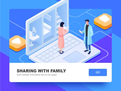 Sharing with family clean connected share room computer branding design default blue isometric 2.5d