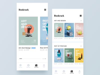 Magazine Reader APP - Bookrack bookshelf book magazine design art blue ui