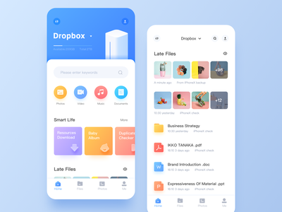 Private Cloud dropbox files document music photos video photoshop checker download baby blank page design isometric blue ui illustration 2.5d