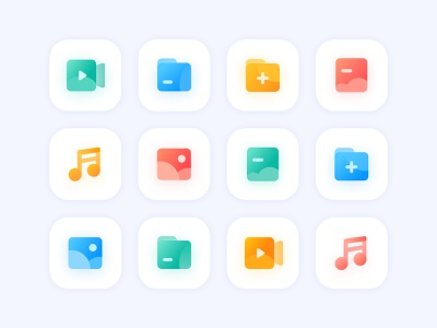 File Types video music folder pictures design blue ui illustration
