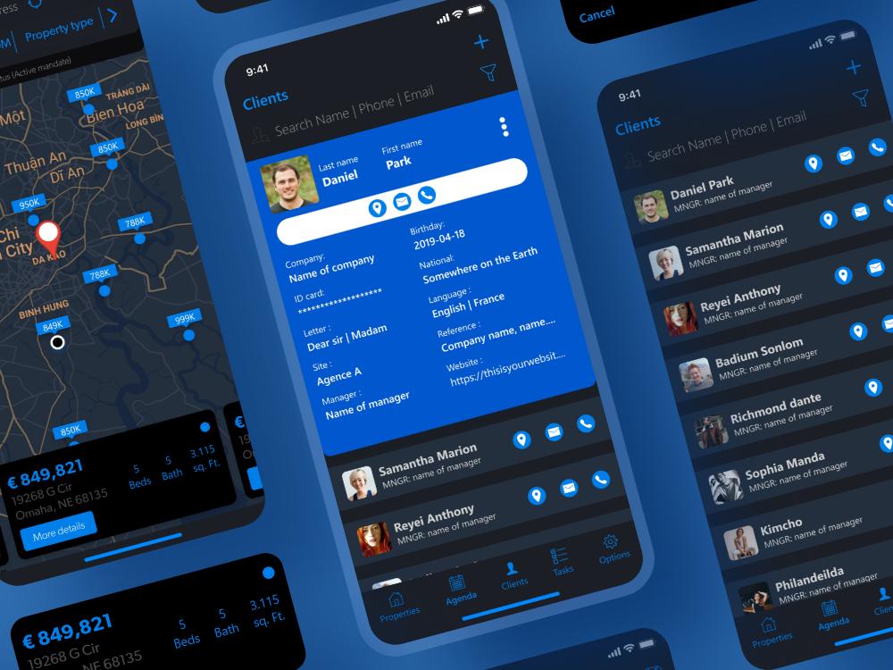 dark design app ui