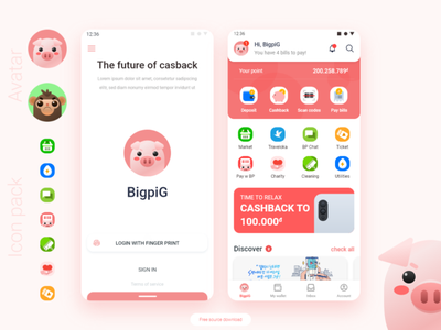 Supper apps BIGPIG freebie app adobexd ui
