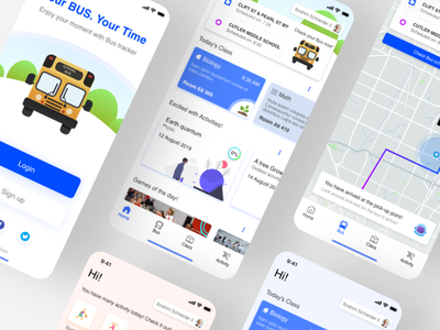 Bus4school illustration adobexd app ui