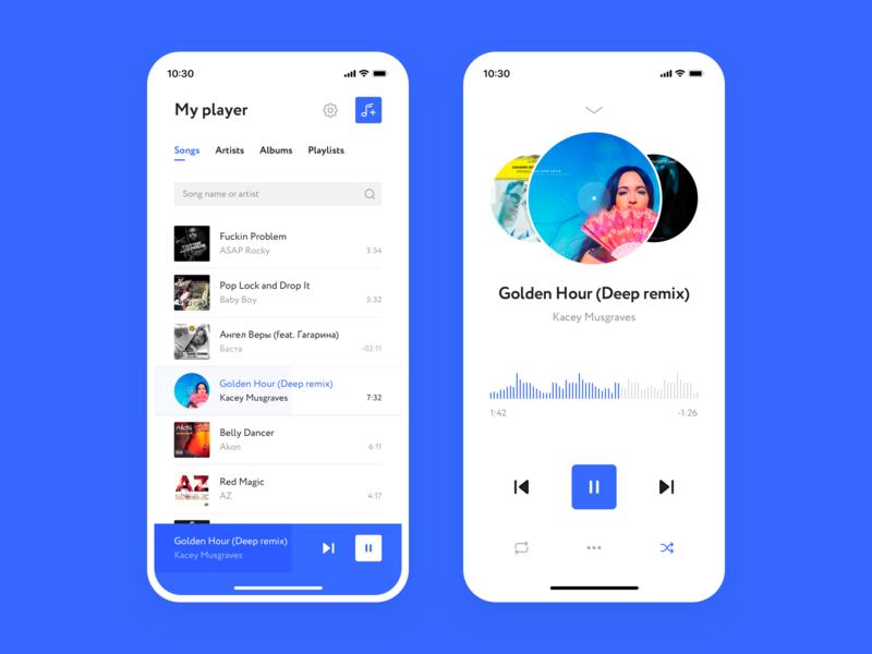 Cox Player music player design ux ui app