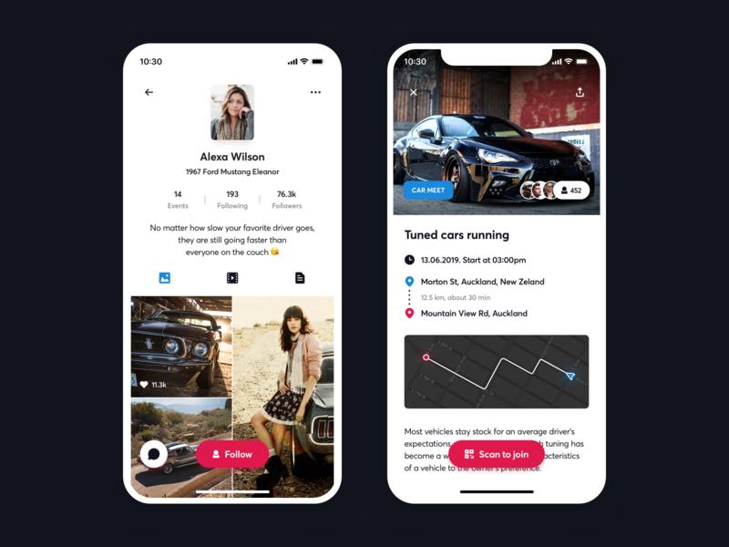 Profile / Event page profile page social community car ui design ux design app  design ux ui design app
