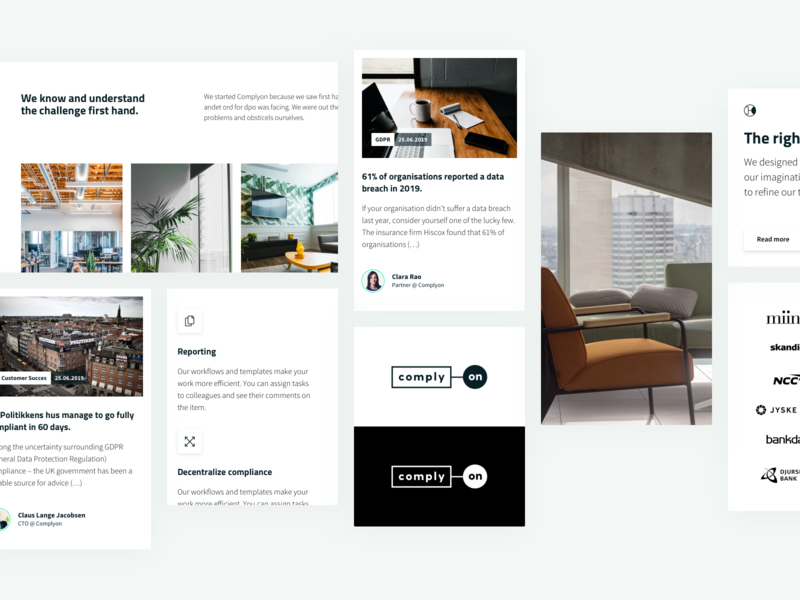 Complyon modules ux branding website