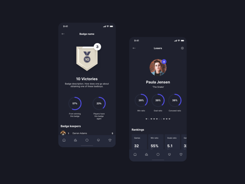 Losers - Profile and Badges badges profile stats play office foosball game app